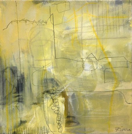 "Jennifer Rivera, ""The Softness of Spring"",12"" X 12"", acrylic graphite and pastel stick on canvas"
