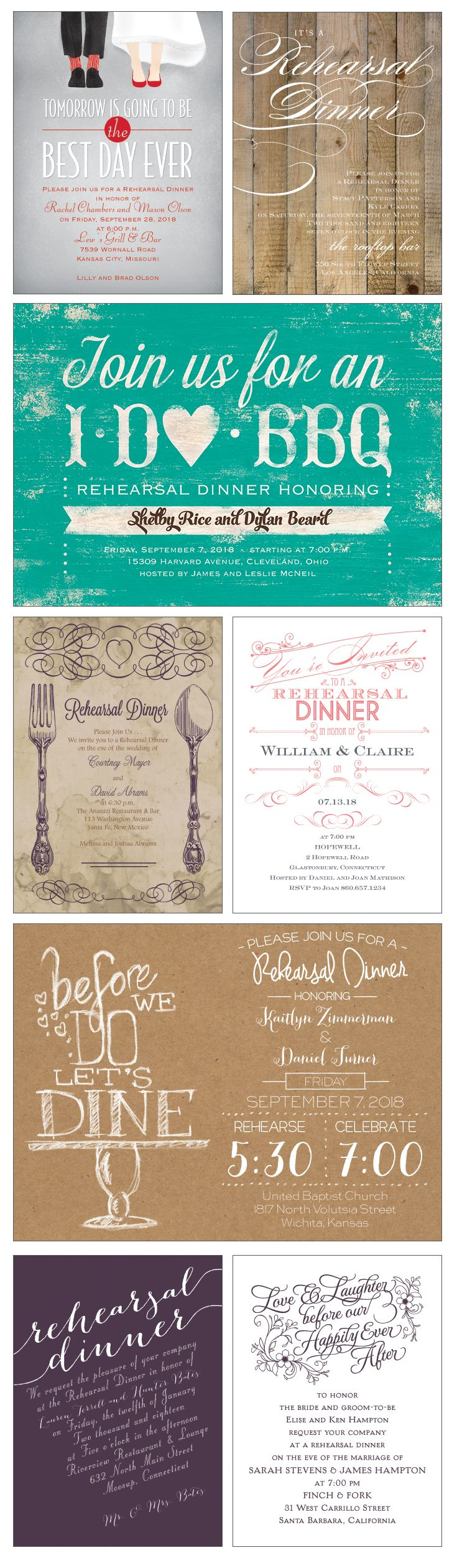 Celebrate the day BEFORE the best day ever with a Rehearsal Dinner invite personalized in your theme and colors.