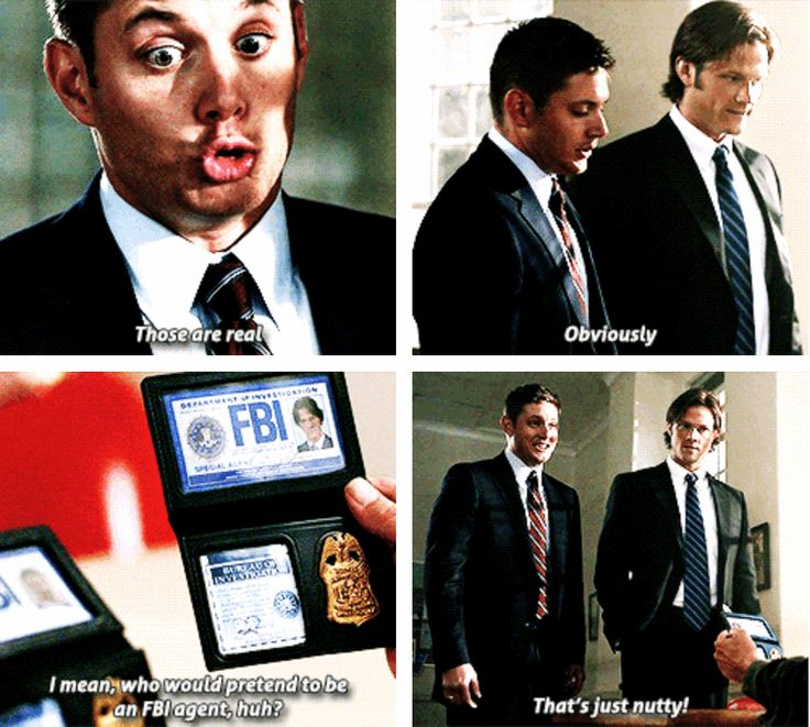 Dean worried about being a fake FBI agent lol  Yellow Fever