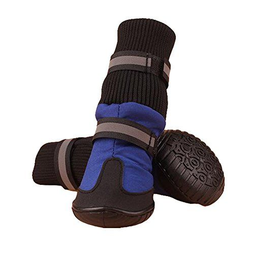 Julvie Pet Dog Waterproof Anti-Slip High Boots Paw Protector Dog Shoes for Medium to Large Dogs Labrador Husky Shoes 4 Pcs ** You can get more details by clicking on the image.