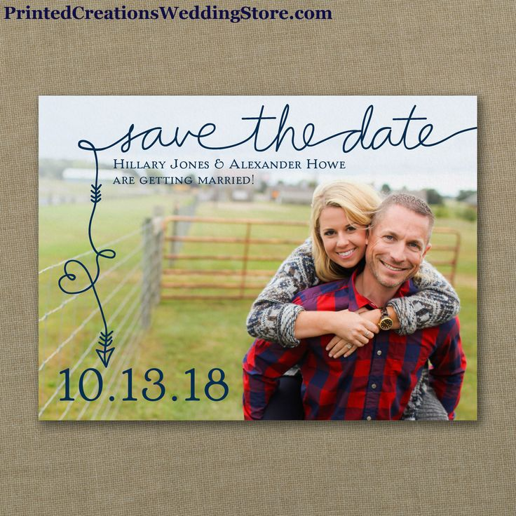 To the Point Photo Save the Date - have fun sharing your favorite photo while announcing your upcoming wedding with the arrow and heart leading to your date in your choice of color.  Shop this design and many more save the date cards & magnets at www.PrintedCreationsWeddingStore.com/save-the-date.php.  #savethedates