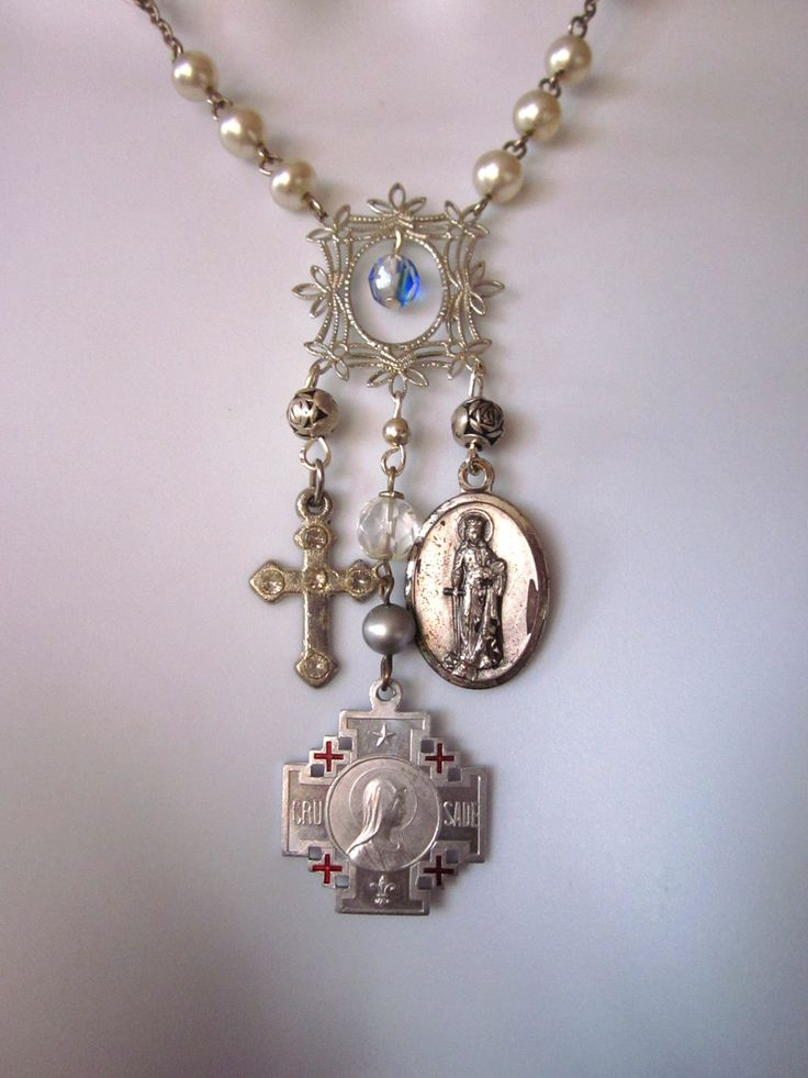 Religious Charm Necklace Vintage Medals RESERVED for Patti ...
