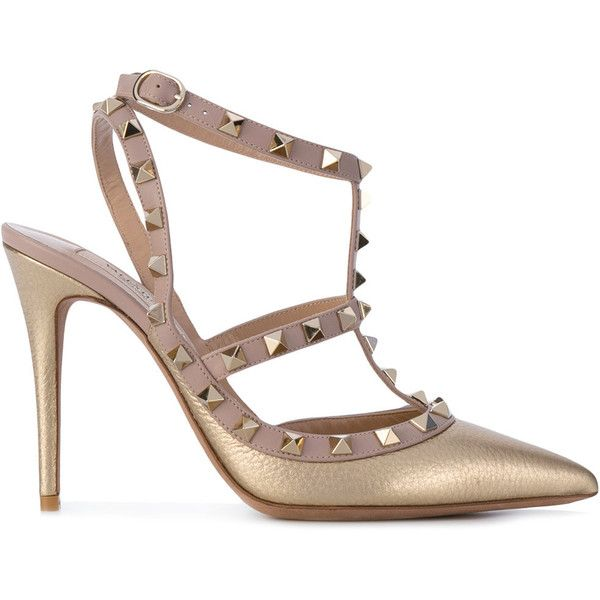 Valentino Garavani Rockstud pumps (14.002.995 IDR) ❤ liked on Polyvore featuring shoes, pumps, nude strappy shoes, leather shoes, nude pumps, leather pointed toe pumps and ankle strap shoes