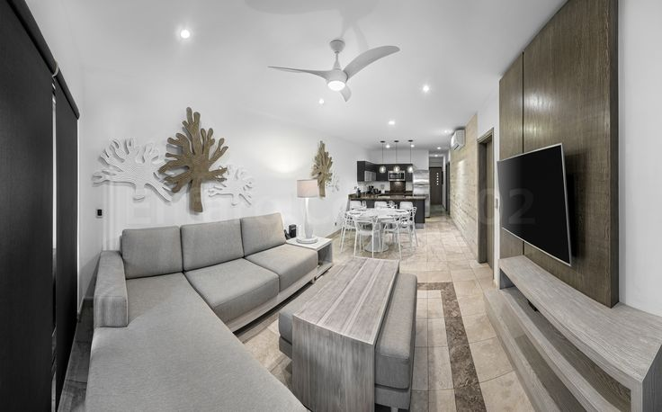 Living room, Beachfront Vacation Rental Condo Playa del Carmen