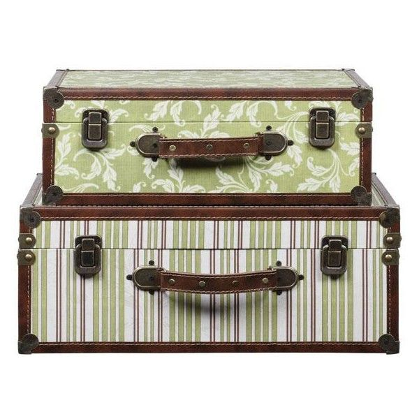 Jenna Canvas and Wood Suitcase set of 2 ❤ liked on Polyvore