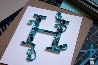 Quilled Monogram Letter - beautiful, colorful, elegant and somewhat simple.