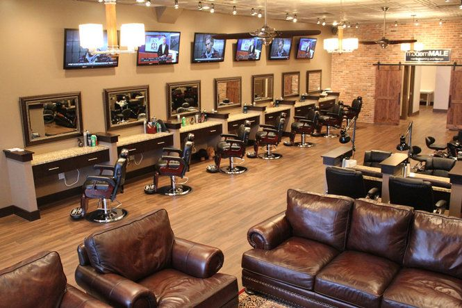 Lounge Style Barber Shop. Love the barn doors, love the leather