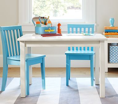 Just bought this table in Sun Valley Expresso and two lavender chairs for a special little girl! She's growing so fast! Carolina Small Play Table and two chairs. #PotteryBarnKids