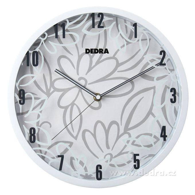 DEDRA – Nástěnné hodiny motiv bílých květů | Výrobky se slevou