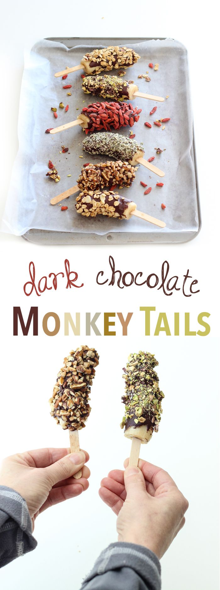 Feel great about indulging in these healthy snacks - frozen bananas dipped in dark chocolate with your choice of toppings, from hemp seeds to granola to walnuts to goji berries!