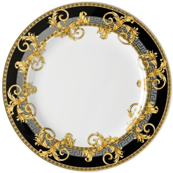 VERSACE HOME Prestige Gala Collection Dinner Plate ($101) ❤ liked on Polyvore featuring home, kitchen & dining, dinnerware, plates, grey, gray dinnerware, grey dinner plates, versace dinnerware, versace plates and gray plates