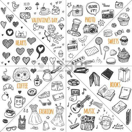 мел: Мега дизайн каракули элементы векторный набор. Ручной обращается иллюстрации: фото, сладости, книги, сердечки, день святого Валентина, музыка, мода, одежда, кофе.