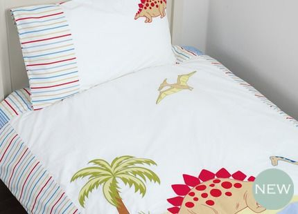 Dinosaurs BedsetDinosaurs Bedset For kids who know their stegosaurus from their brontosaurus, our new bedset features a fabulous Dinosaur landscape bordered and backed with colourful stripes and includes a bordered pillowcase to match.