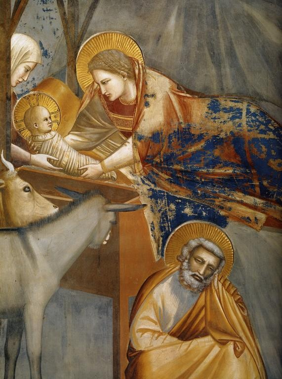 Giotto di Bondone (c.1266-1337) ~ Birth of Christ (detail) ~ c.1303/05 ~ Mary and the Christ Child. Fresco, From a cycle with scenes from the lives of Mary and Christ. Padua, Arena Chapel (Cappella degli Scrovegni)