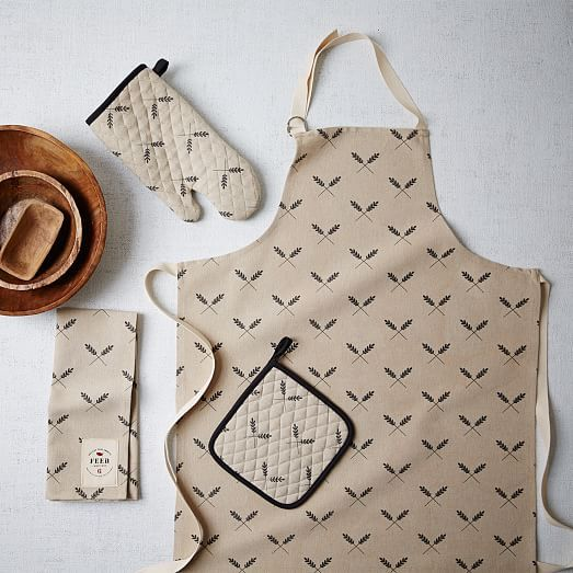 FEED Tea Towel, Apron & Oven Mit Set @westelm.com #CookGirlCraves