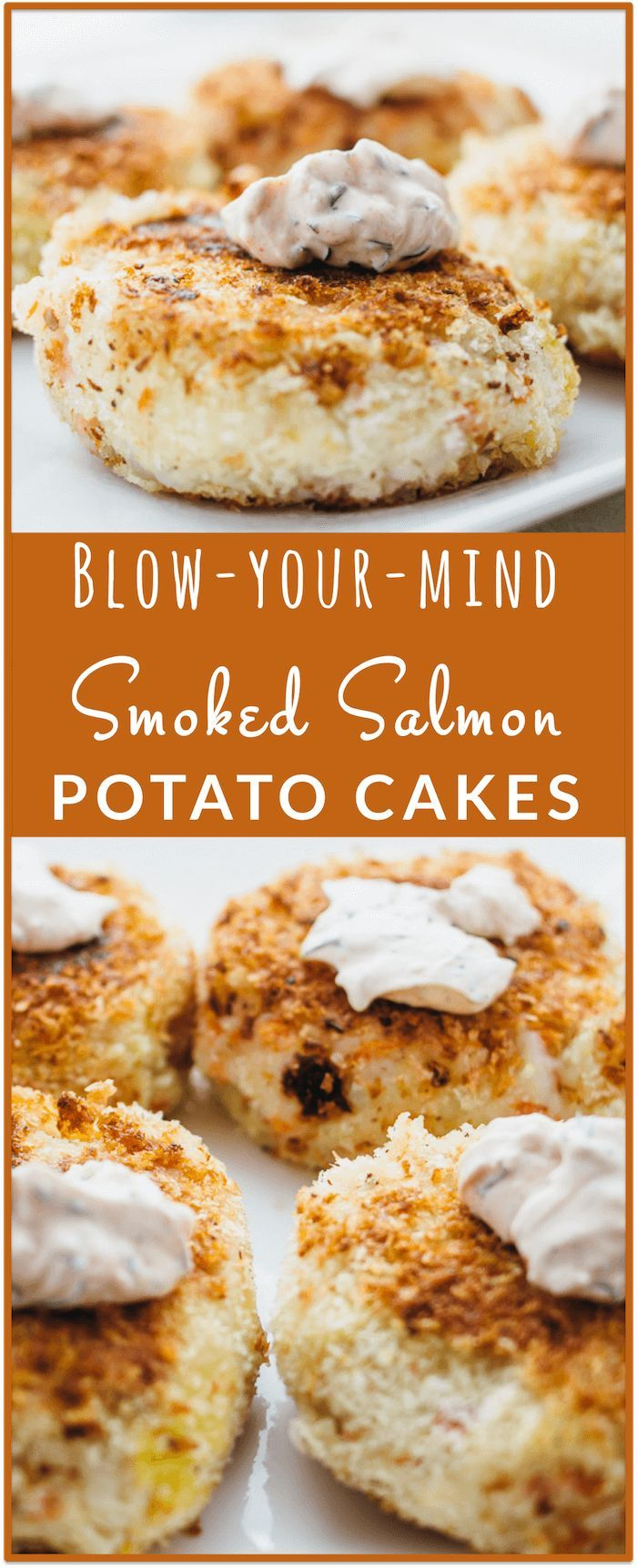 Smoked salmon potato cakes - Amazing smoked salmon potato cakes recipe: super crispy pan-seared exterior made of bread crumbs + smoked salmon and mashed potatoes interior. Best of all is the spicy dill-garlic dip for these bite-sized breakfast patties/pancakes! - http://savorytooth.com