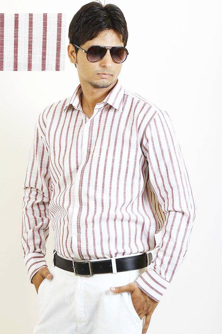Buy Brown Stripes Formal Shirt For Men Online in India