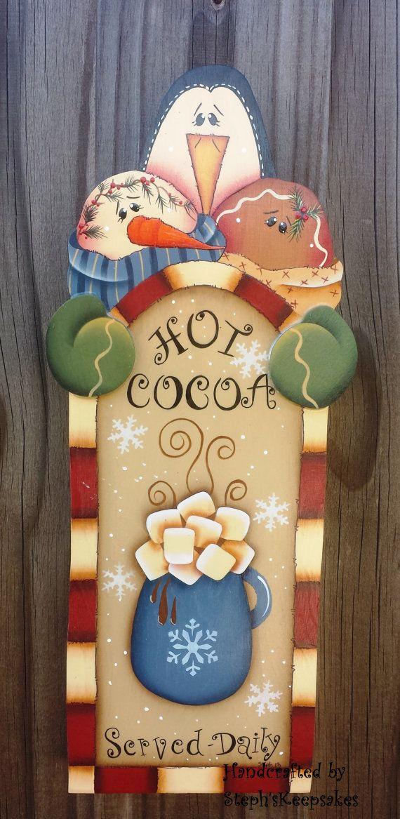 Caliente cacao signo de madera mano pintada por stephskeepsakes