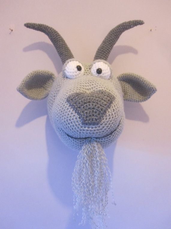 Crochet Wool Mounted Stuffed Trophy Head by Cottontailandwhisker