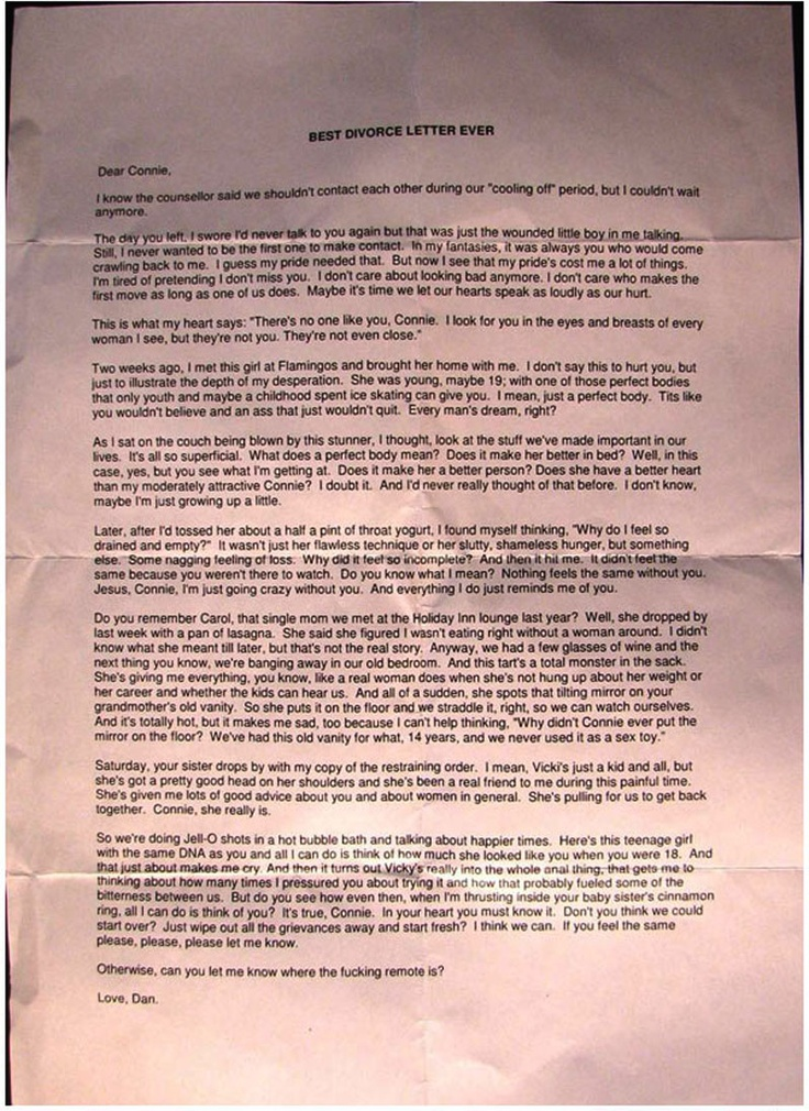 Best Divorce Letter Ever  Lolz