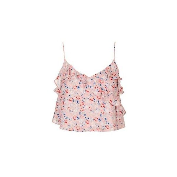 TopShop Floral Cami Top ($38) ❤ liked on Polyvore featuring tops, pink, floral print tank top, ruffle crop top, pink tank top, spaghetti-strap tank tops and cami crop top
