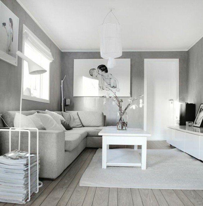 ein graues Zimmer mit weißem Teppich Wohnzimmer Grau Weiß ein Bild ...