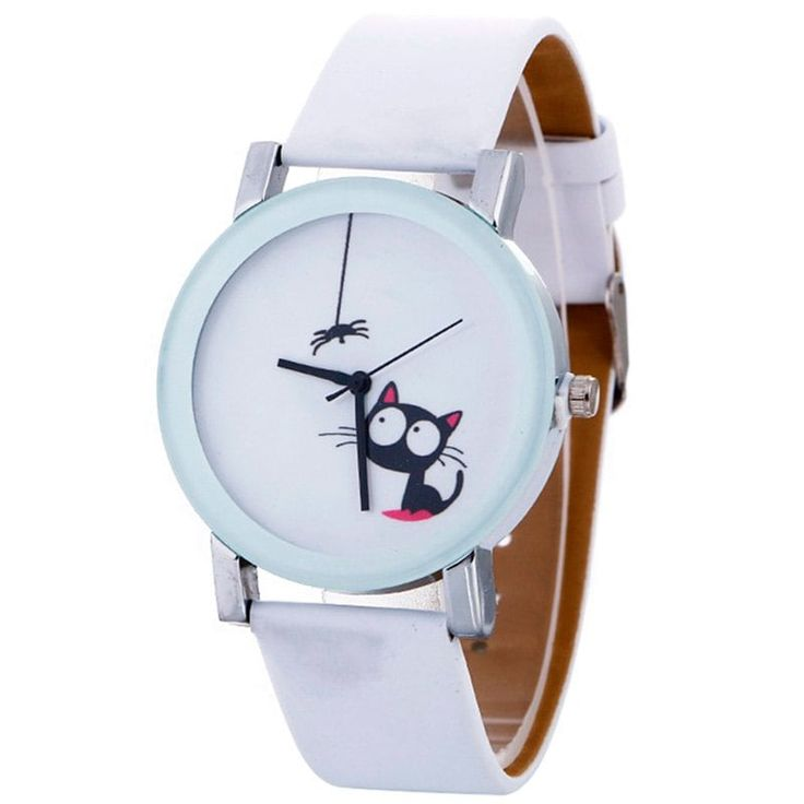 Faux Leather Strap Cat Analog Watch - WHITE