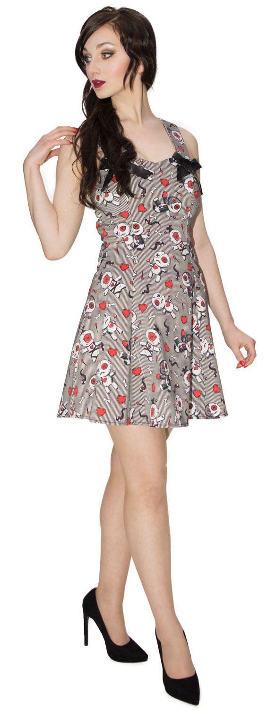 Pinstripe, Pins, Snakes and Hearts Doll Short Dress