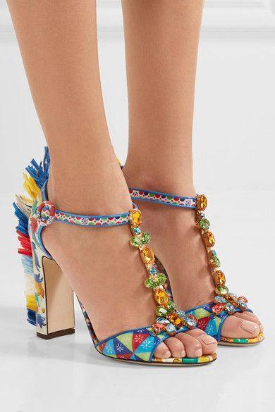Dolce & Gabbana   Bianca raffia-trimmed embellished printed patent-leather sandals   NET-A-PORTER.COM