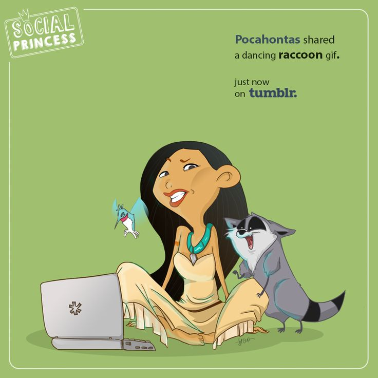 Pocahontas shared a dancing raccoon gif. Just now, on #Tumblr.