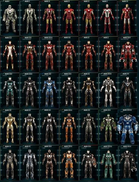 Iron man ( tony stark ) has 35 suits! He's like Oprah with them u have a suit! U have a suit! On and on