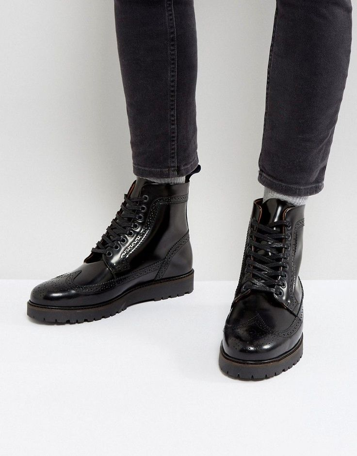 FRED PERRY X GEORGE COX CREEPER MID LEATHER BOOTS IN BLACK - BLACK. #fredperry #shoes #
