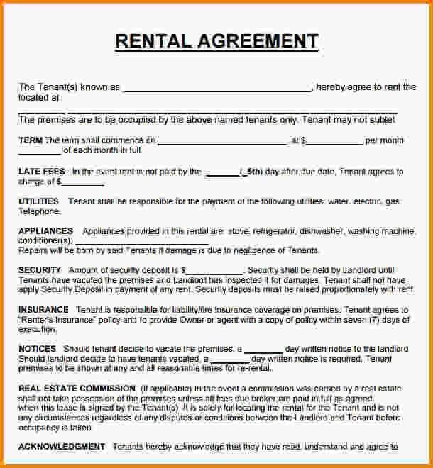 House Rental Agreement Sample Rental Agreement Templates Lease