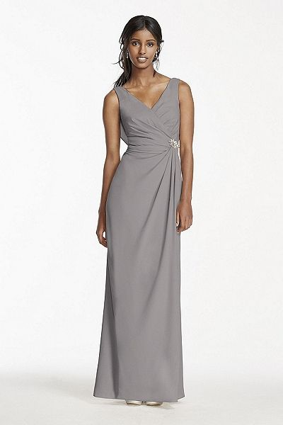 NEW! - Crepe Sheath Dress with Side Slit and Cowl Back Style W10628 In Store & Online $169.95 davidsbridal.com