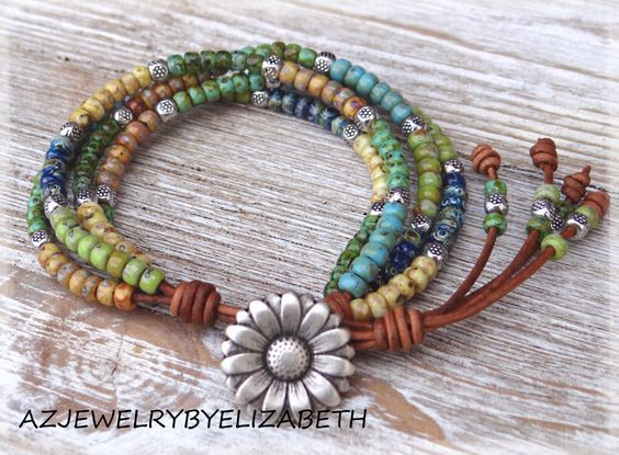Seed Bead Leather Wrap Bracelet, Multi Color Seed Bead Wrap Bracelet, Seed Bead Bracelet. by AZJEWELRYBYELIZABETH on Etsy https://www.etsy.com/ca/listing/480675801/seed-bead-leather-wrap-bracelet-multi