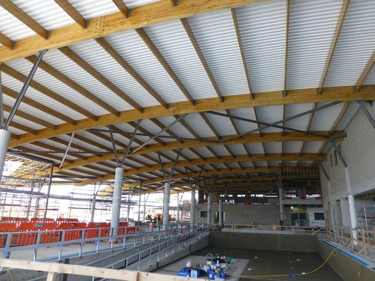 Otahuhu Recreation Centre, Glulam Roof Rafters and Purlins
