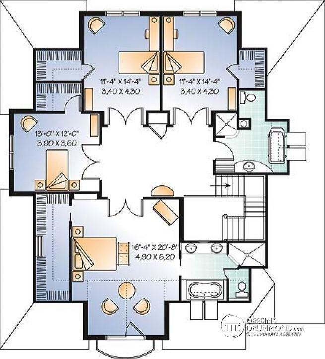 Plan de tage maison 4 chambres avec bureau style moderne rustique garage double ch teau - Plan de maison a etage avec garage ...