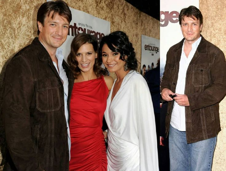 """Photos of celebrities #throwbacktuesday Nathan, Perrey Reeves and Emmanuelle Chriqui arrive at the Premiere of HBO's """"Entourage"""" season 7 at Paramount Studios on June 16, 2010 in LA, California #nathanfillion #natefillion #captainnate👑 #perreyreeves #emmanuellechriqui #photography #photocollage #photocelebrity #celebritypic #celebritystyle #handsomeman #captainmalcomreynolds #firefly #castle #actors #hollywood #lovemycaptain"""