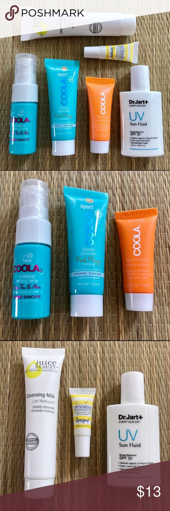 6 Piece Sun and Skin Care Sample Set w/ Bonus Soap 6 piece set of premium sun and skin care products in sample sizes with bonus Lush soap. All items new and unopened. Perfect for travel! Includes: Coola SPF 30 Makeup Setting Spray (.34 fl oz), SPF 50 Sport Mango Sunscreen (.34 fl oz), and SPF 30 Daydream Mineral Primer (.10 fl oz), Dr. Jart SPF 30 UV Sun Fluid (.84 fl oz), Supergoop SPF 50 Lip Screen (.05 fl oz), and Juice Beauty Cleansing Milk (.50 fl oz). Plus bonus sample of Lush Karma…