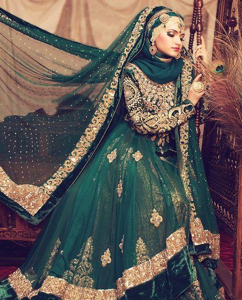 beautifulindianbrides: Photo by:Sofia Outfit by:Je Roche Fashion House MU by:Asian Creations Green & gold! Beautiful combination! #PerfectMuslimWedding.com