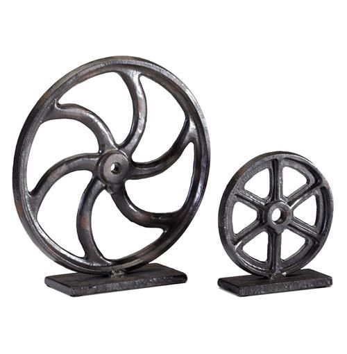Get the wheels turning with this bold industrial sculpture. Perfect for lofts, farmhouses and even city apartments.  $25