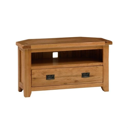 "Cottage Oak Corner TV Unit with Drawer - up to 46"" (J253) with Free Delivery 