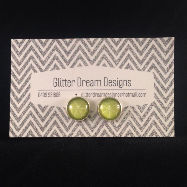 Order Code D13 Green Cabochon Earrings