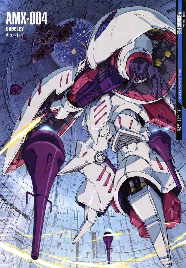 The AMX-004 Qubeley (キュベレイ, Kyuberei) is a mobile suit that appears in Mobile Suit Zeta Gundam and Mobile Suit Gundam ZZ. The unit is piloted by Haman Karn.
