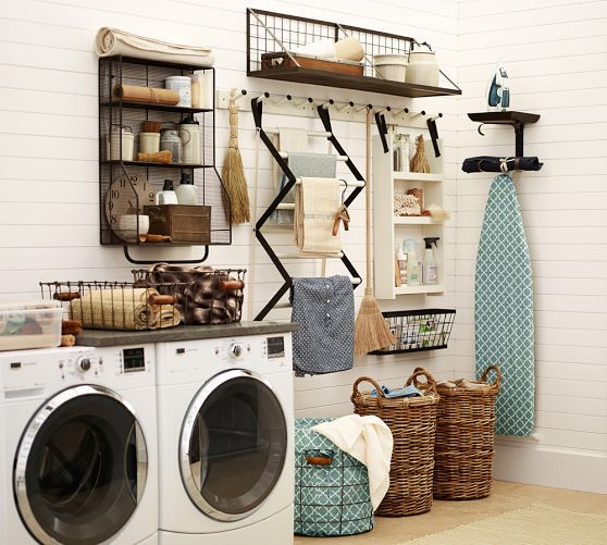 Organized laundry room [Pictured: Gabrielle Laundry System | Pottery Barn | $ 24-99]