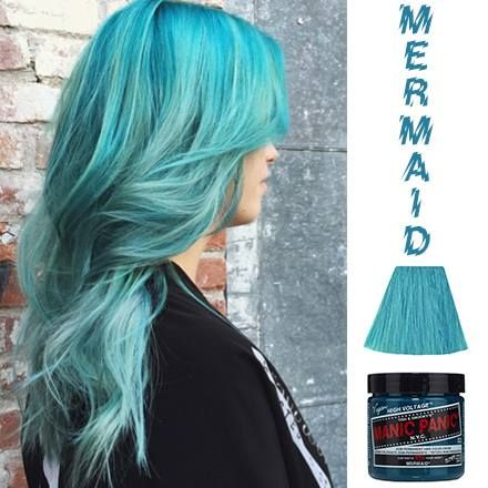 "MANIC PANIC just released a new shade called Mermaid. ""We have just released a vegan, semi-permanent hair color called MERMAID! It is bluer than Siren's Song and lighter than Atomic Turquoise, and is the perfect shade for mermaid hair. Buy it now at..."