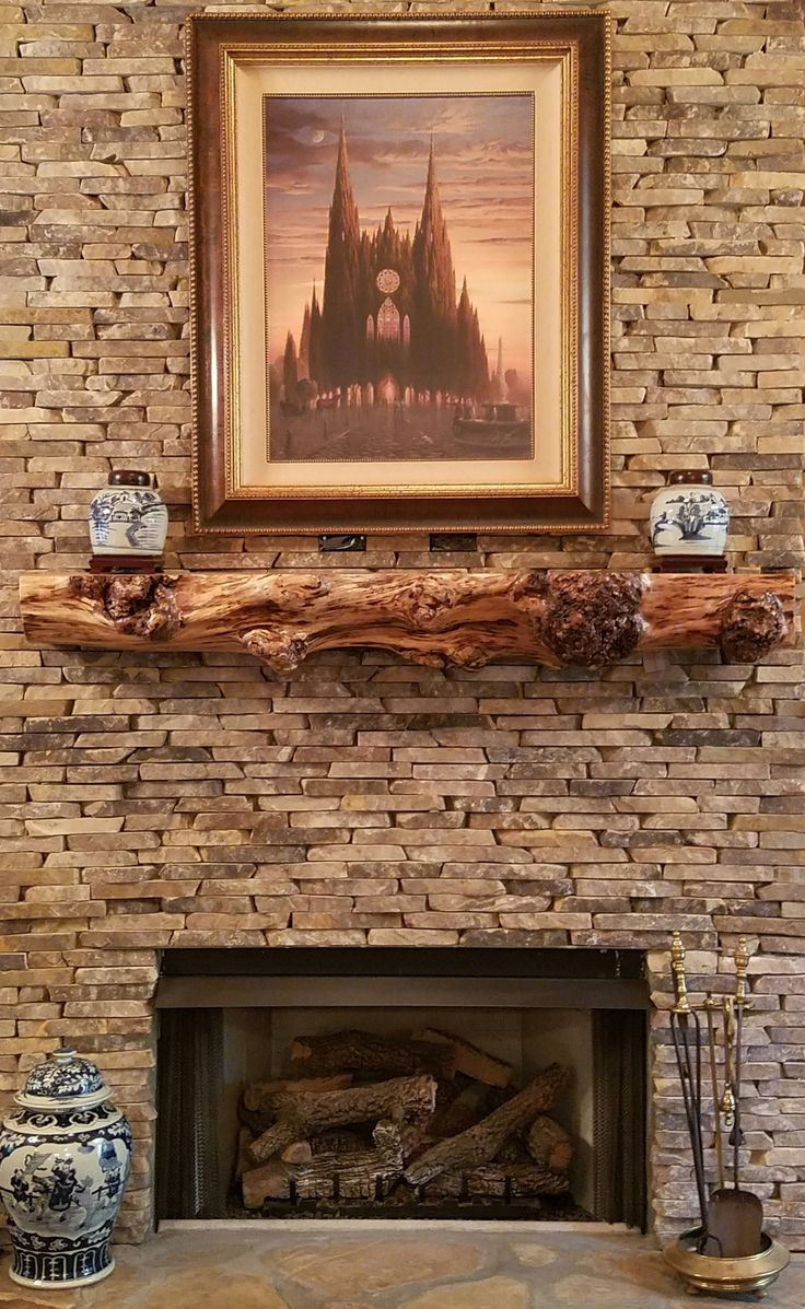 Burly Maple Live Edge Mantle on Stacked Stone Fireplace ...