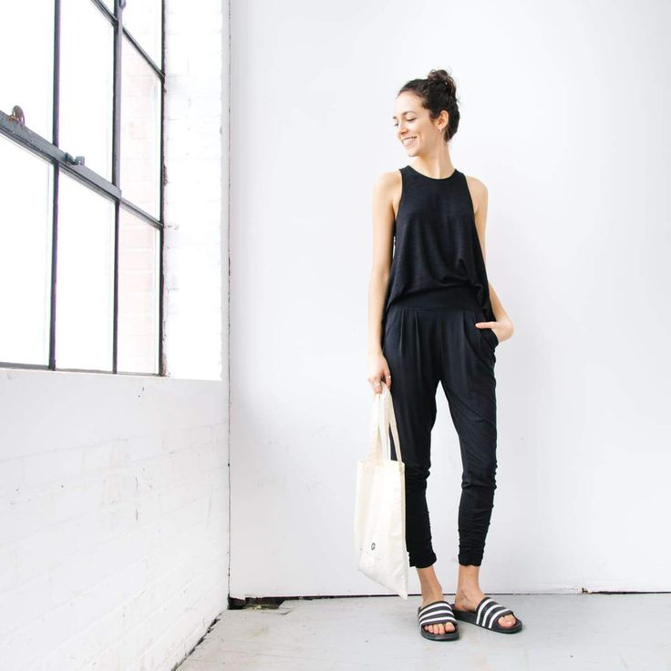 Andrea in a Racer Back Tank, Black Dressy Sweatpants, Encircled Canvas Tote, and Slides visit www.encircled.ca or www.encircled.co