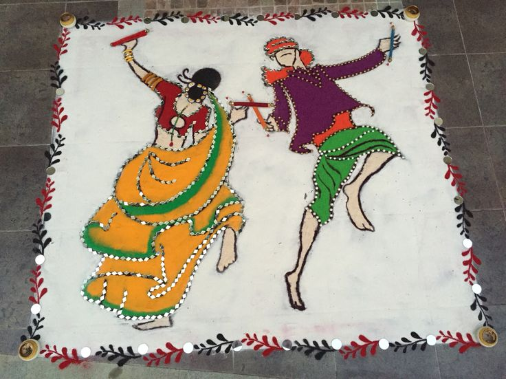 Rangoli'15!!  Blend of traditional sand Rangoli with mirror and pearl embellishments!