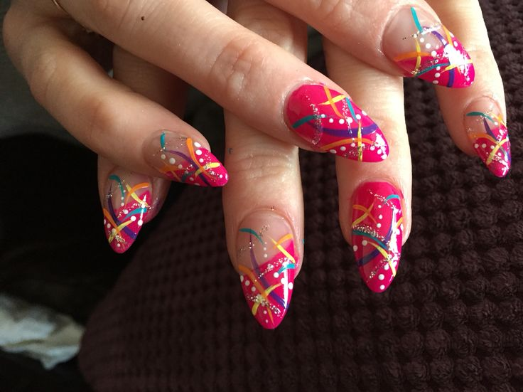 Bright abstract nails by me